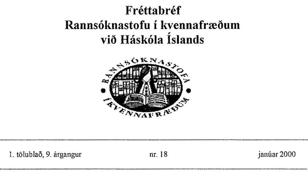 Fréttabréf Rannsóknastofu í Kvennafræðum